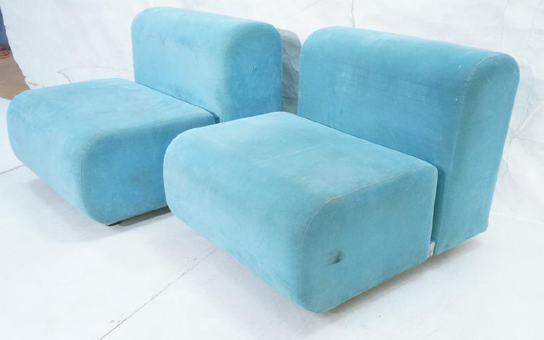 Pr KNOLL Light Blue Ultra Suede Modular Lounge Ch