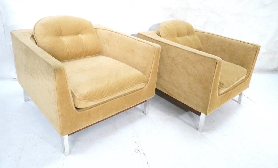Pr Cube Form Tan Modern Lounge Chairs. Low profil