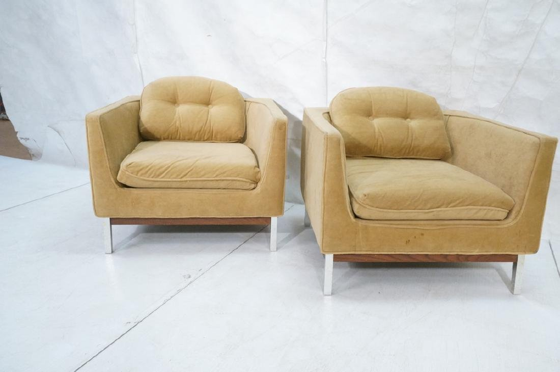 Pr Cube Form Tan Modern Lounge Chairs. Low profil - 2