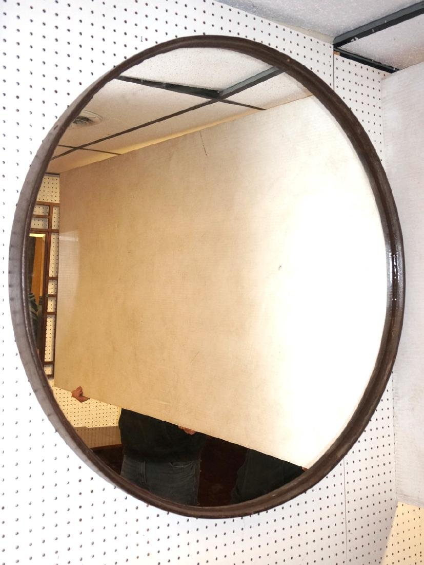 Large Steel Round Metal Industrial Wall Mirror. H