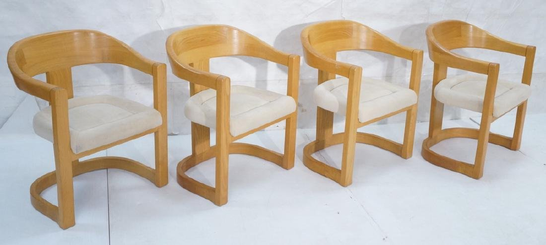 Set 4 Karl Springer Attributed Arm Chairs. Blond