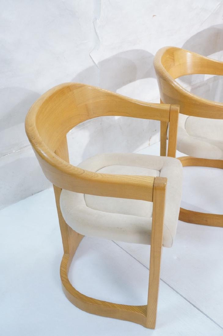 Set 4 Karl Springer Attributed Arm Chairs. Blond - 2