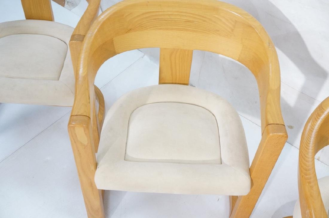 Set 4 Karl Springer Attributed Arm Chairs. Blond - 3