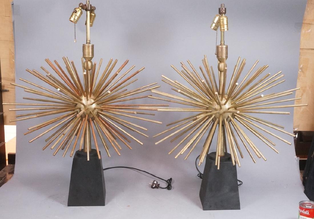 Pr ARTURO PANI Style Bronze Lamps.  Spiked Sphere