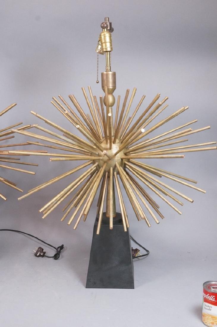 Pr ARTURO PANI Style Bronze Lamps.  Spiked Sphere - 2