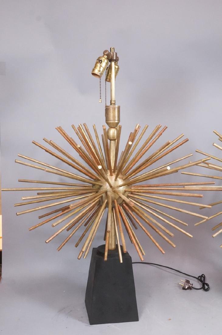 Pr ARTURO PANI Style Bronze Lamps.  Spiked Sphere - 5