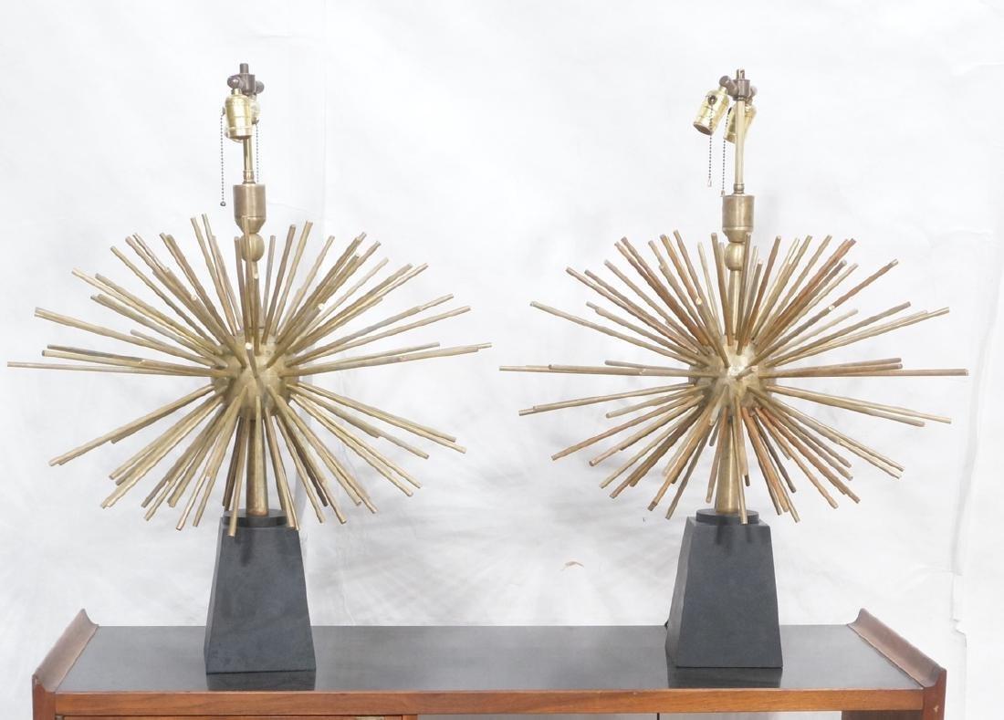 Pr ARTURO PANI Style Bronze Lamps.  Spiked Sphere - 6