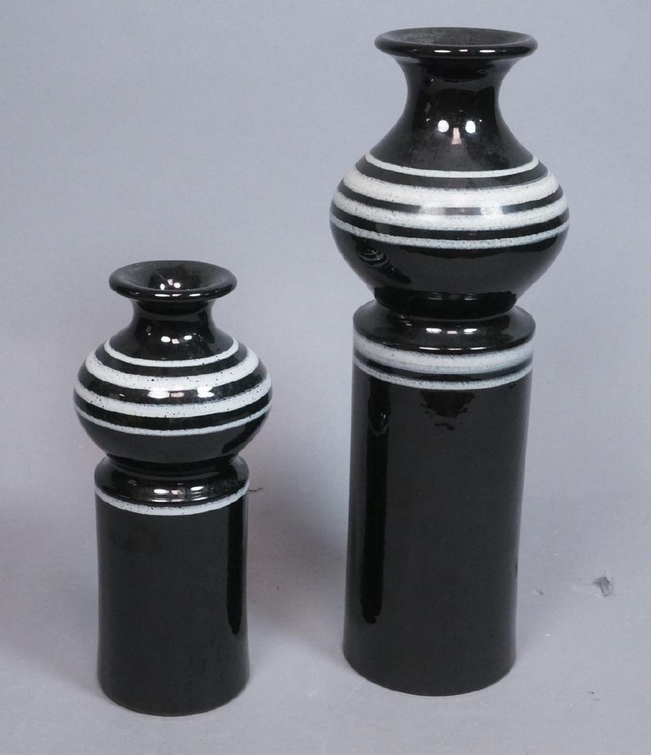 2pc ROSENTHAL NETTER Black Glazed Italian Pottery