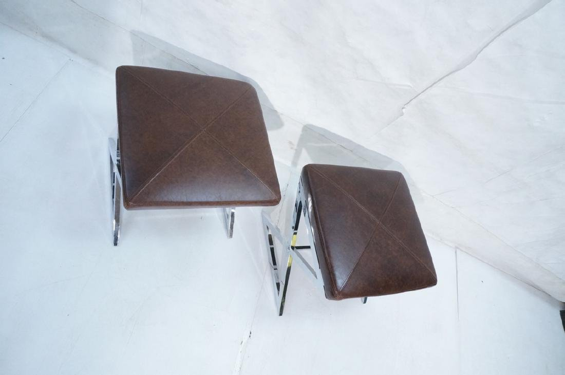 "Pr Italian Leather Chrome ""X"" Base Stools. Ottoma - 4"