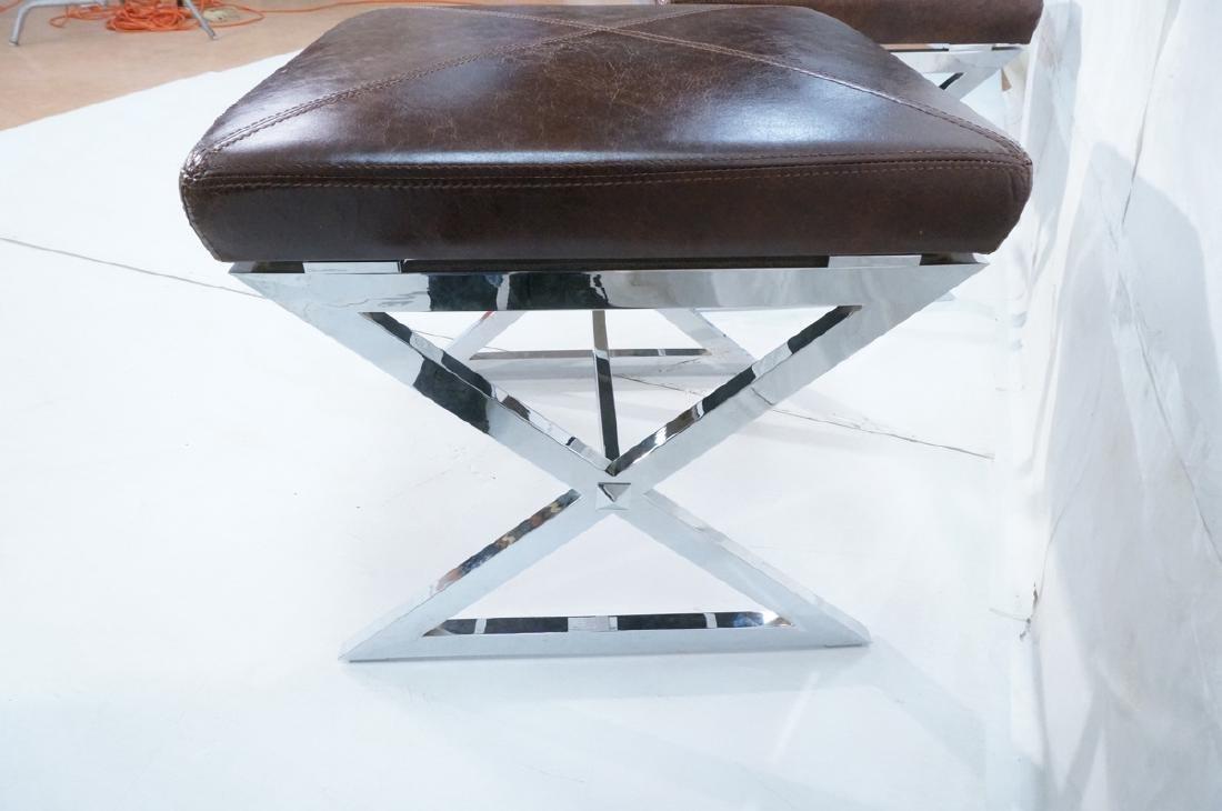 "Pr Italian Leather Chrome ""X"" Base Stools. Ottoma - 5"