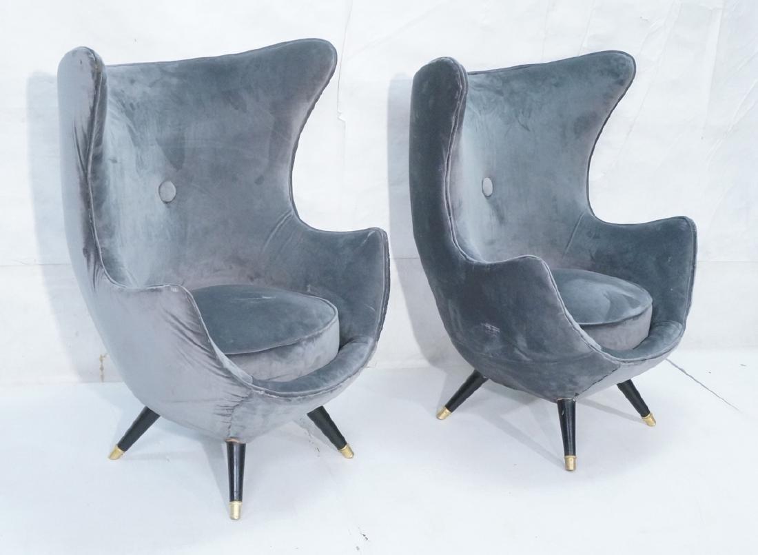 Pr Gray Velvet Modernist Tall Back Lounge Chairs.