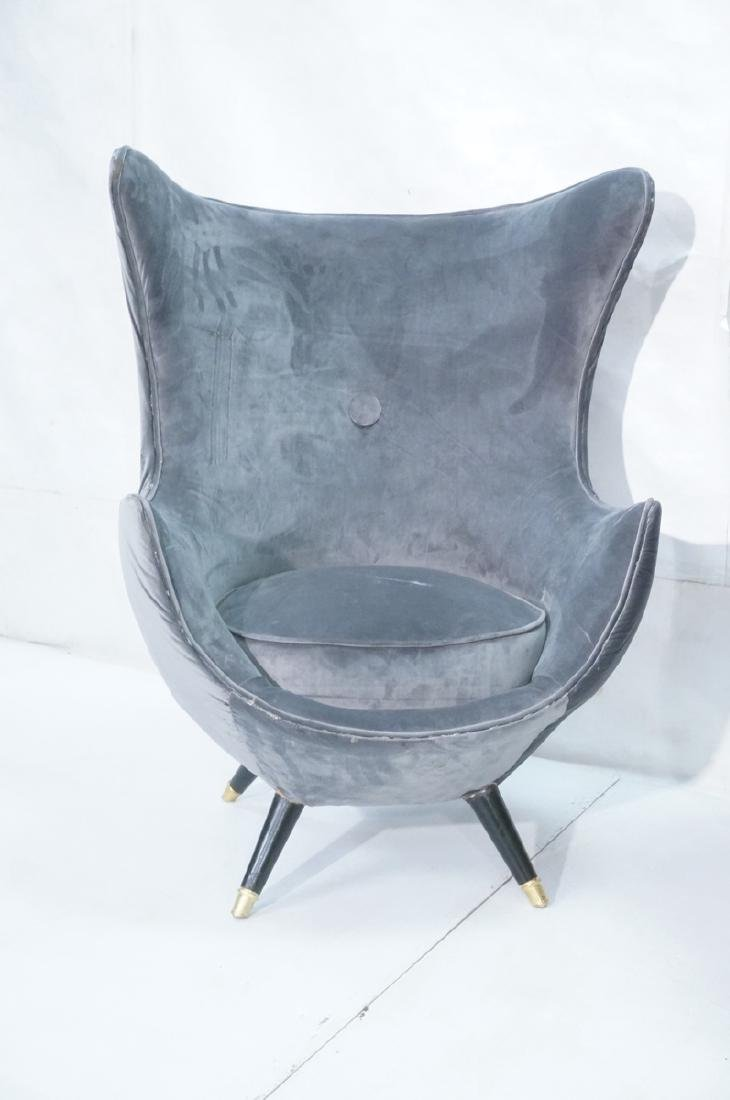 Pr Gray Velvet Modernist Tall Back Lounge Chairs. - 2