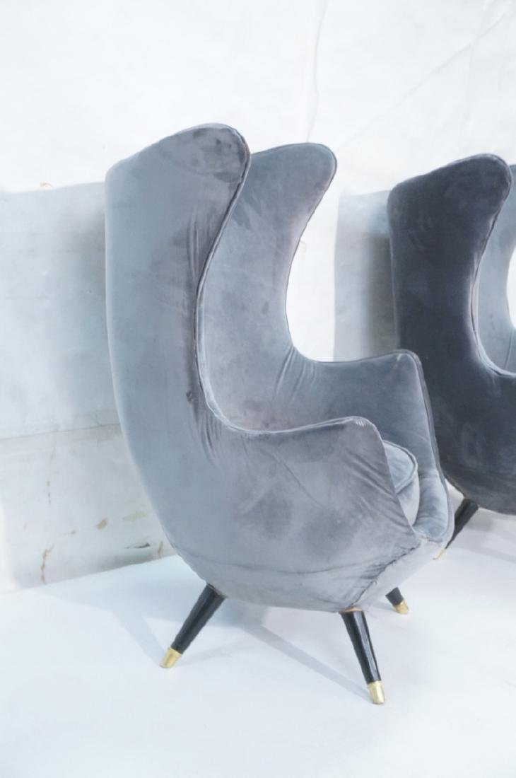 Pr Gray Velvet Modernist Tall Back Lounge Chairs. - 3