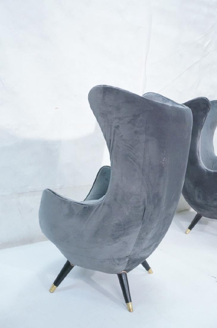 Pr Gray Velvet Modernist Tall Back Lounge Chairs. - 5