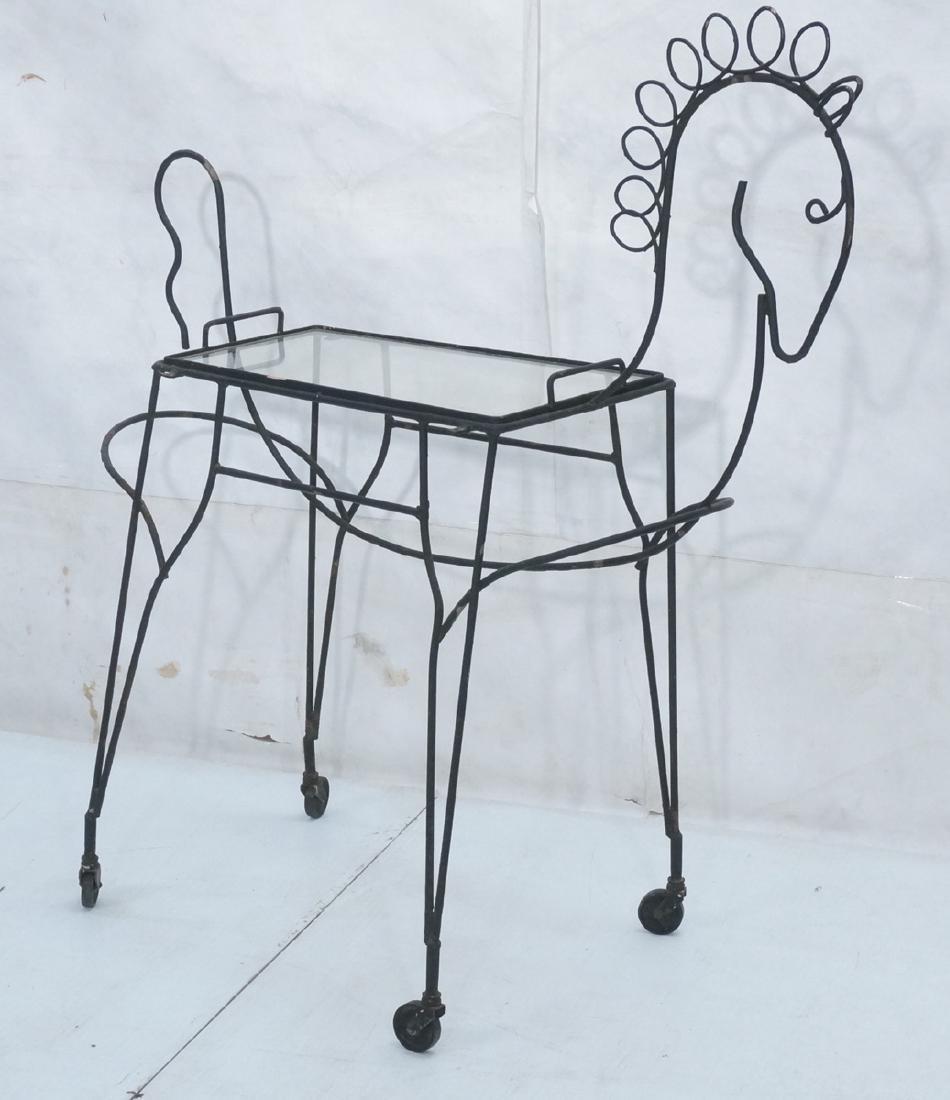 John Risley Black Rod Horse Table. Black iron fra