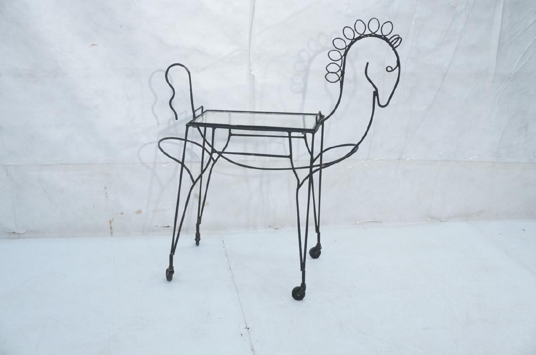 John Risley Black Rod Horse Table. Black iron fra - 2
