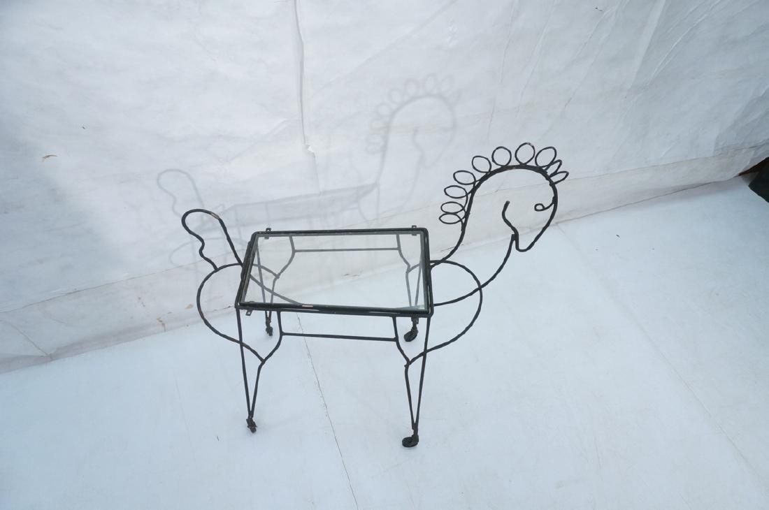 John Risley Black Rod Horse Table. Black iron fra - 3