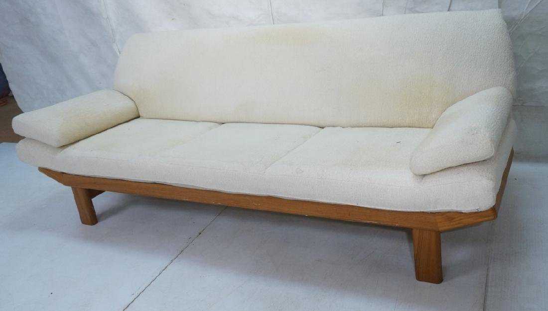 Danish Modern Teak Sofa Couch. Tall back cream up