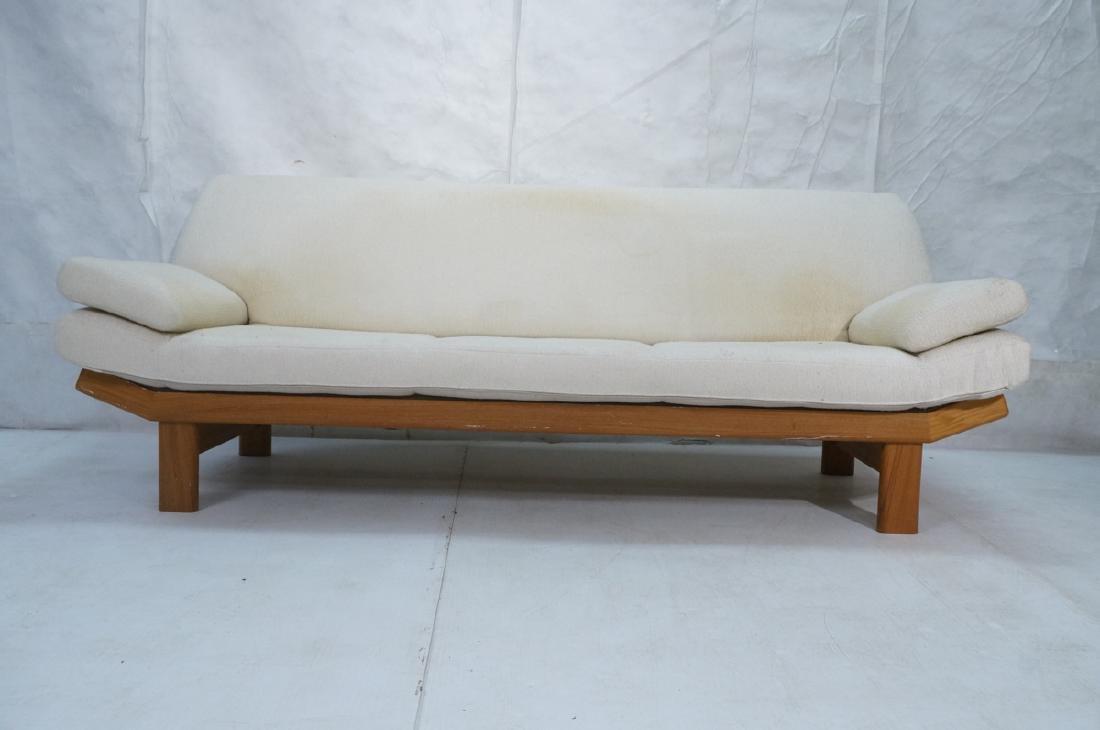 Danish Modern Teak Sofa Couch. Tall back cream up - 2