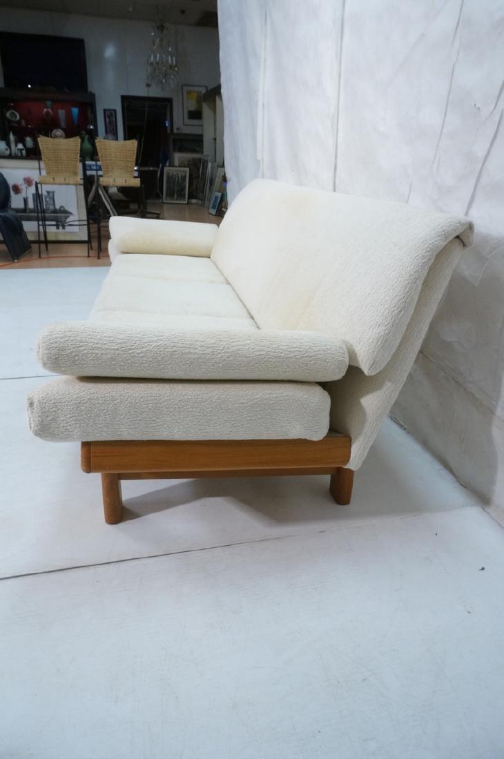 Danish Modern Teak Sofa Couch. Tall back cream up - 4
