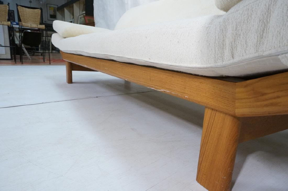 Danish Modern Teak Sofa Couch. Tall back cream up - 7