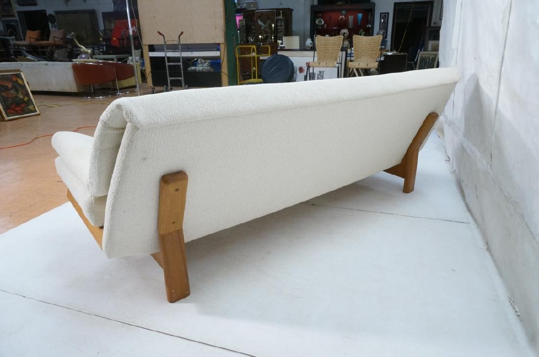 Danish Modern Teak Sofa Couch. Tall back cream up - 8