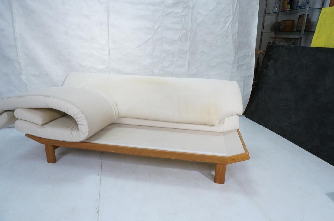Danish Modern Teak Sofa Couch. Tall back cream up - 9
