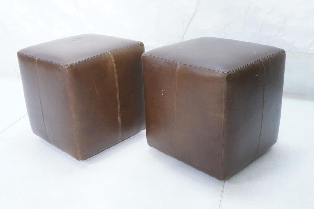 Pr Brown Leather Rolling Cube Stools. Modern benc