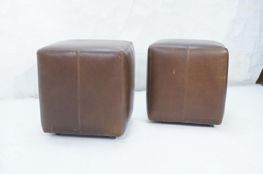 Pr Brown Leather Rolling Cube Stools. Modern benc - 2