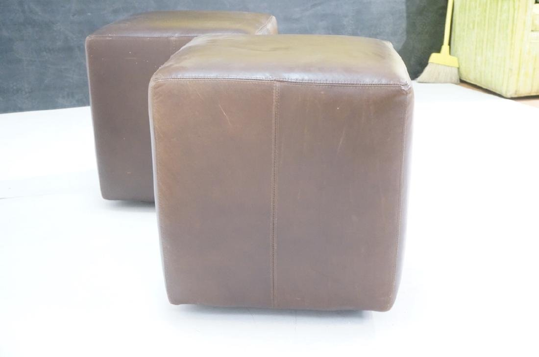 Pr Brown Leather Rolling Cube Stools. Modern benc - 3
