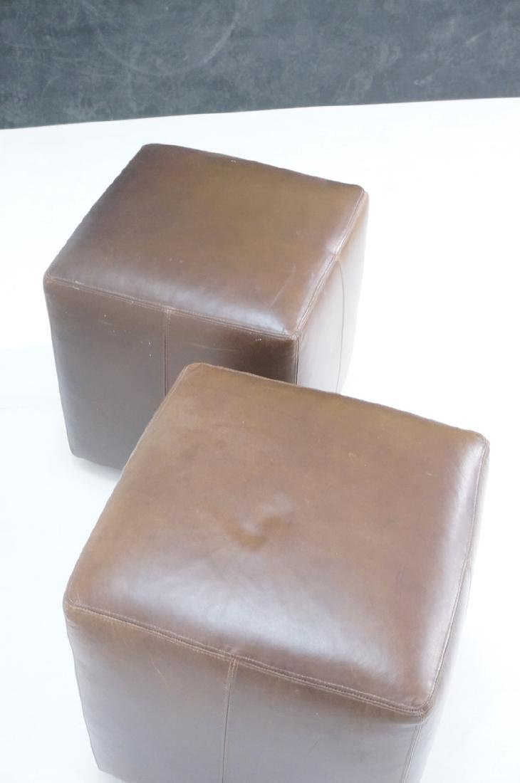 Pr Brown Leather Rolling Cube Stools. Modern benc - 4