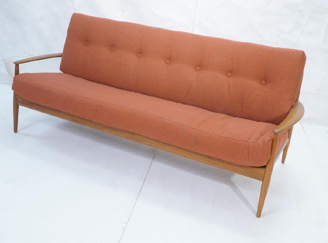 Danish Modern Teak Sofa Couch. Wide bowed paddle