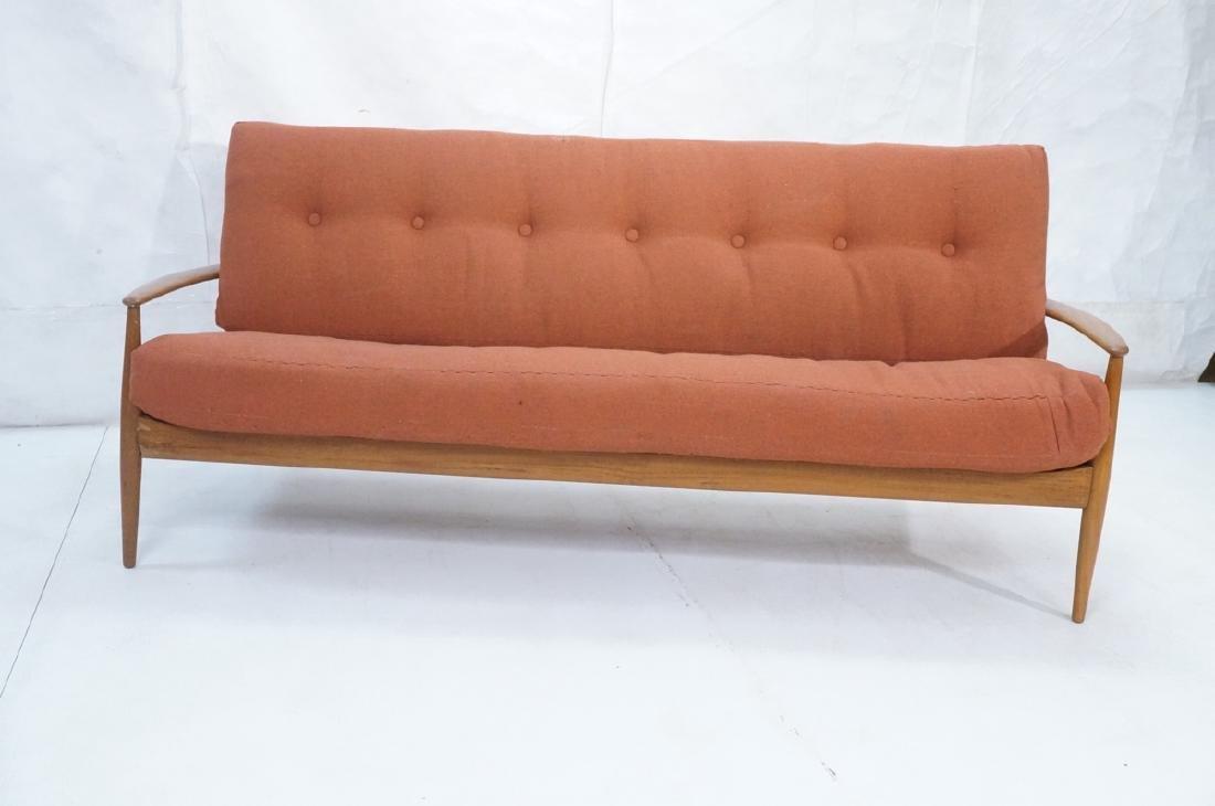 Danish Modern Teak Sofa Couch. Wide bowed paddle - 2