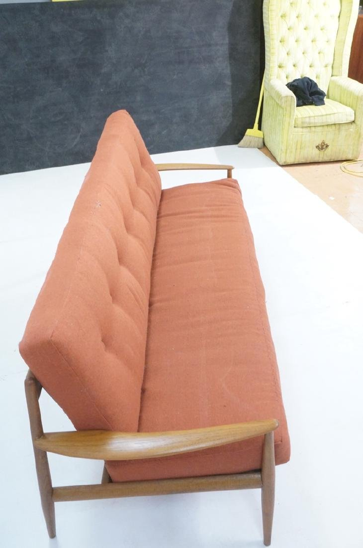 Danish Modern Teak Sofa Couch. Wide bowed paddle - 4