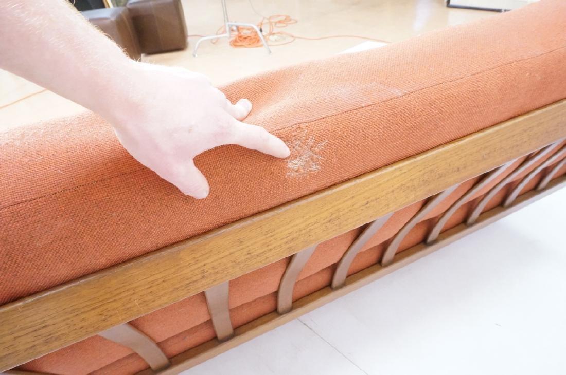 Danish Modern Teak Sofa Couch. Wide bowed paddle - 7
