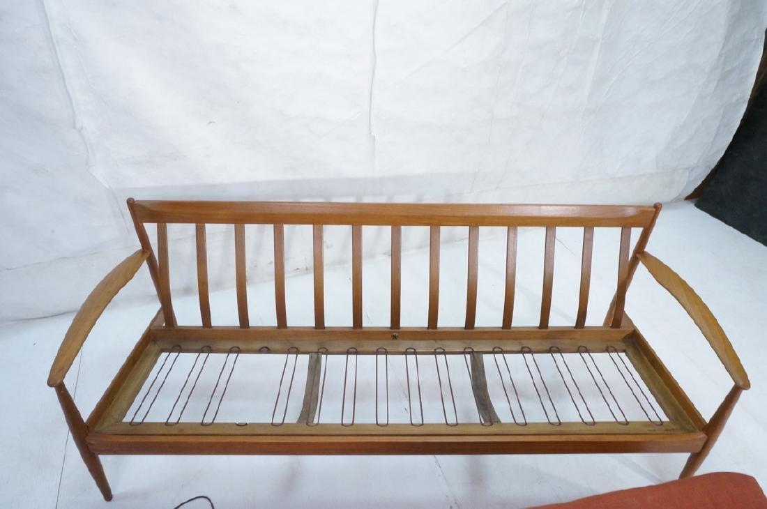Danish Modern Teak Sofa Couch. Wide bowed paddle - 9