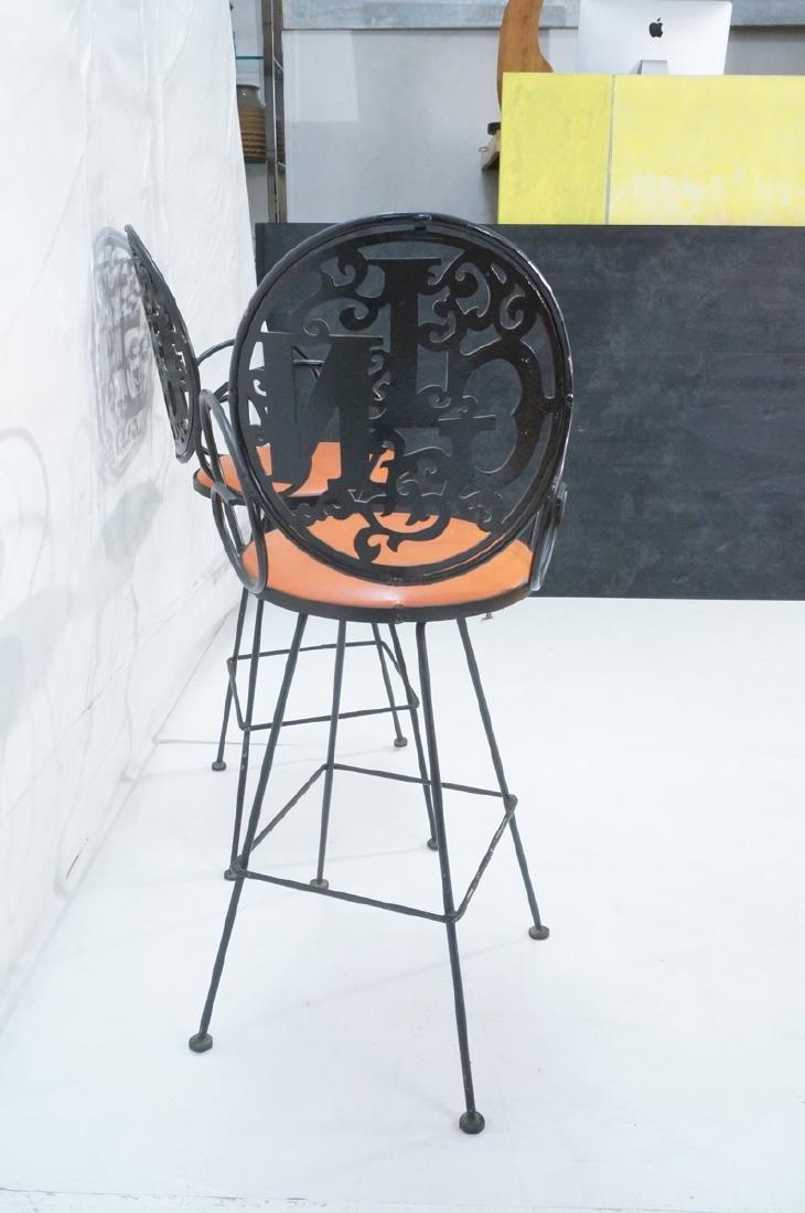 Pr ARTHUR UMANOFF Cast Iron Bar Stools. Circular - 4