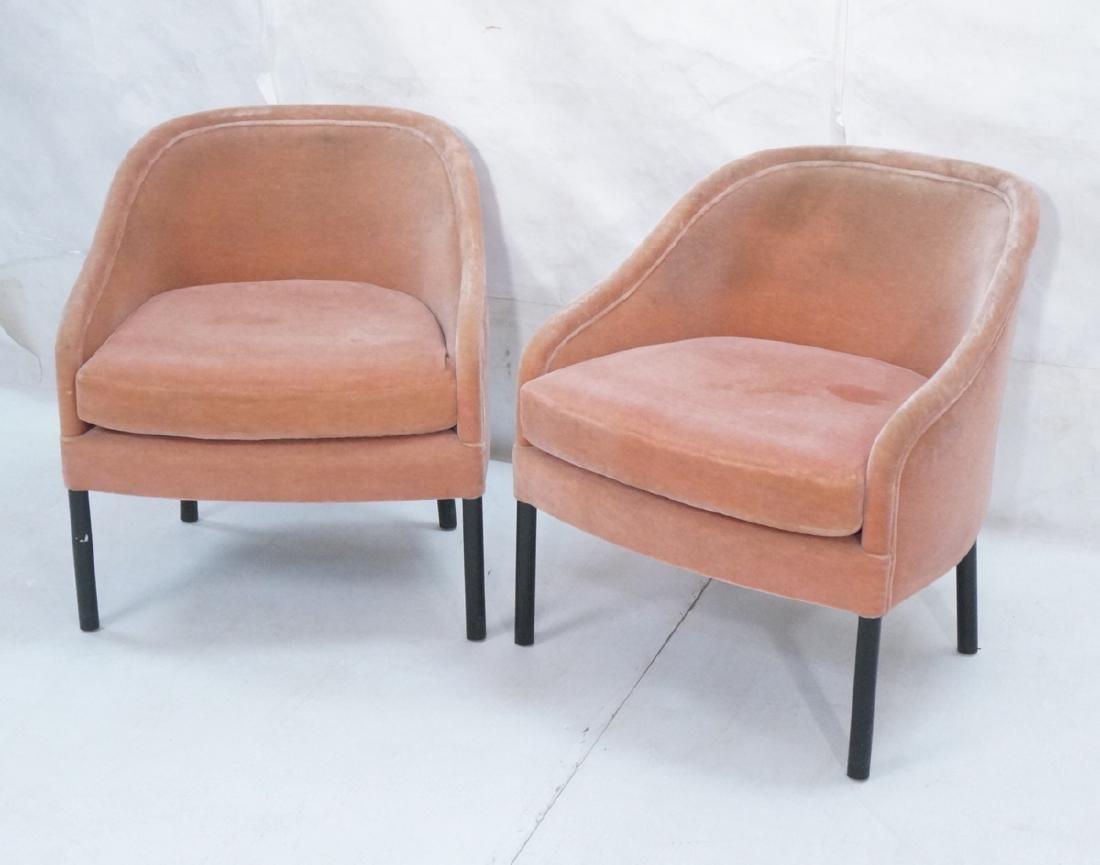 Pr Ward Bennett Pink Mohair Barrel Back Lounge Ch