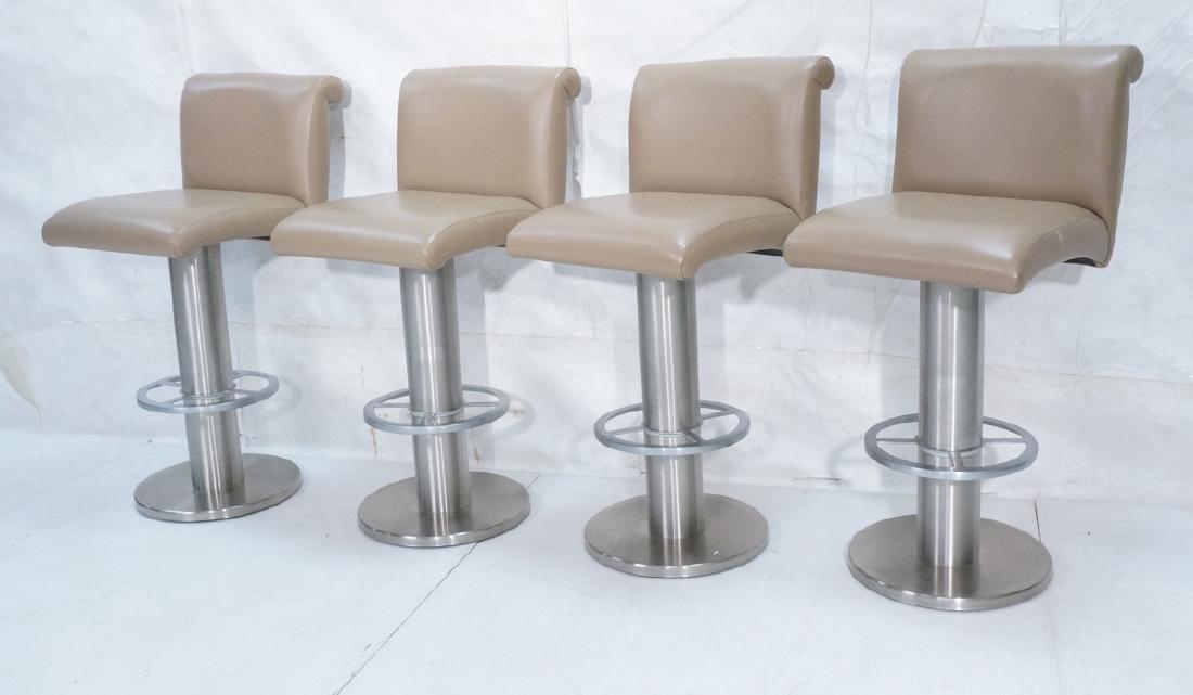 Set 4 Modern Taupe Leather Swivel Bar Stools. Thi
