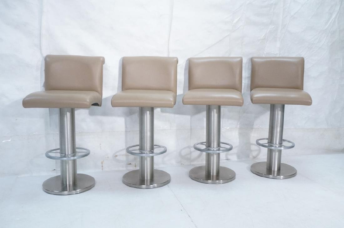 Set 4 Modern Taupe Leather Swivel Bar Stools. Thi - 2