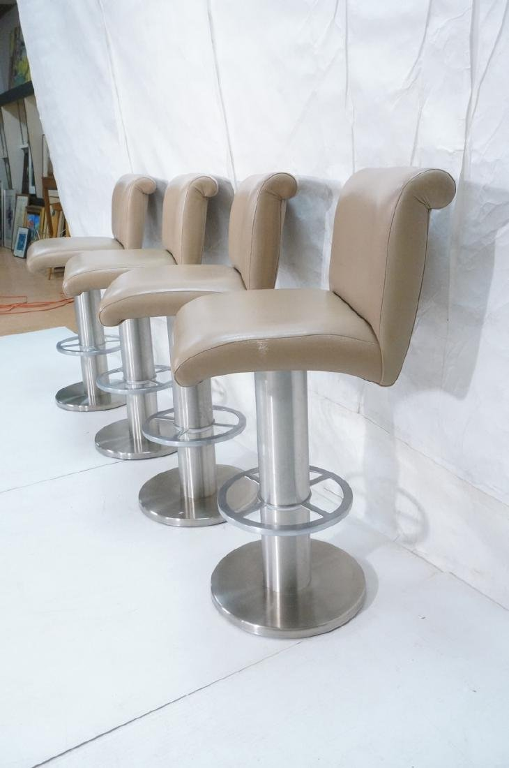 Set 4 Modern Taupe Leather Swivel Bar Stools. Thi - 3