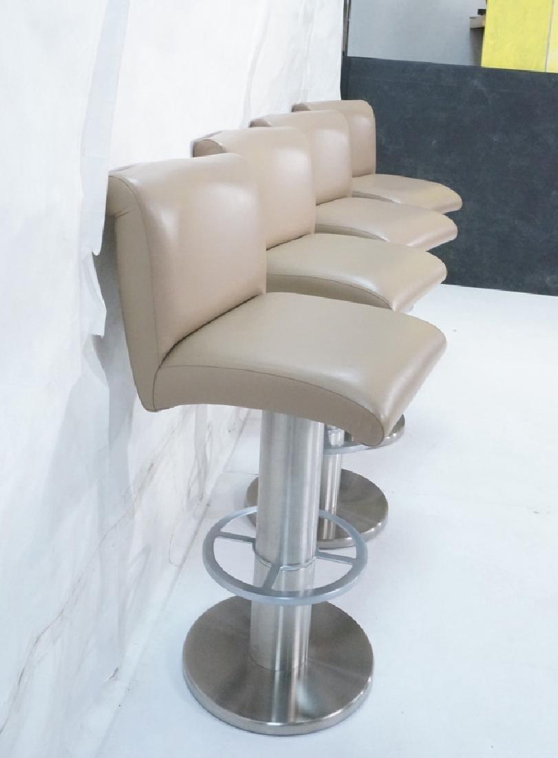 Set 4 Modern Taupe Leather Swivel Bar Stools. Thi - 4