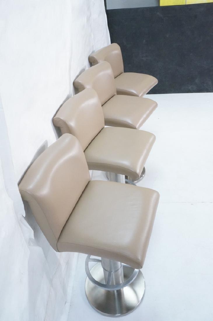 Set 4 Modern Taupe Leather Swivel Bar Stools. Thi - 5