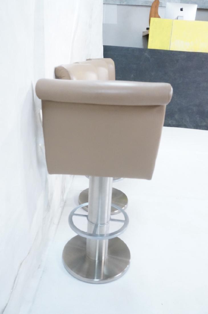 Set 4 Modern Taupe Leather Swivel Bar Stools. Thi - 6