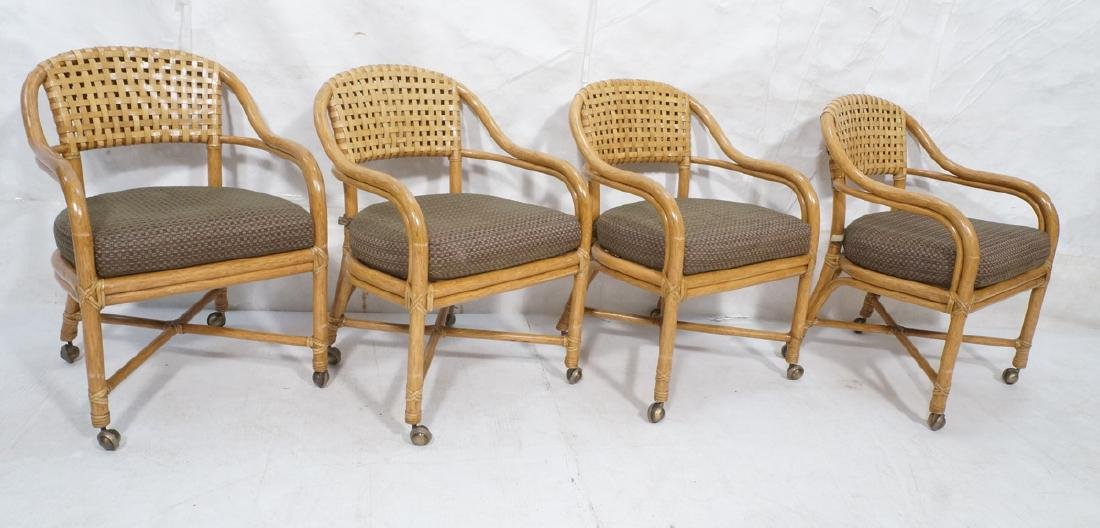 Set 4 MCGUIRE Rattan & Leather Arm Dining Chairs.