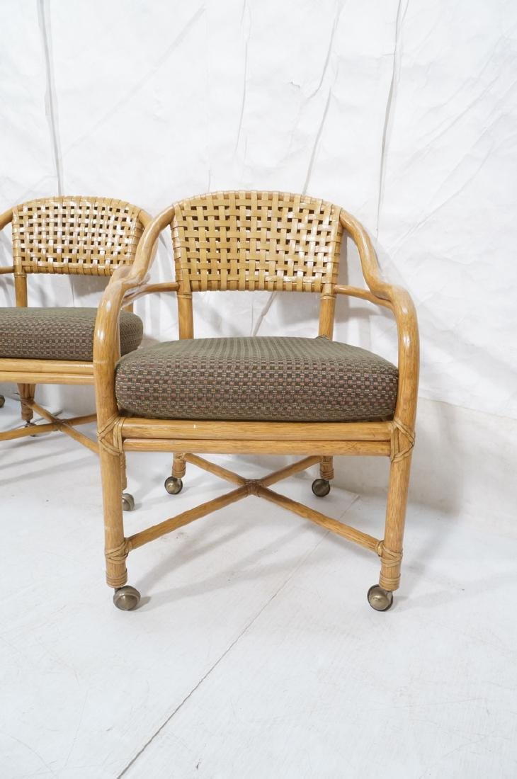 Set 4 MCGUIRE Rattan & Leather Arm Dining Chairs. - 2