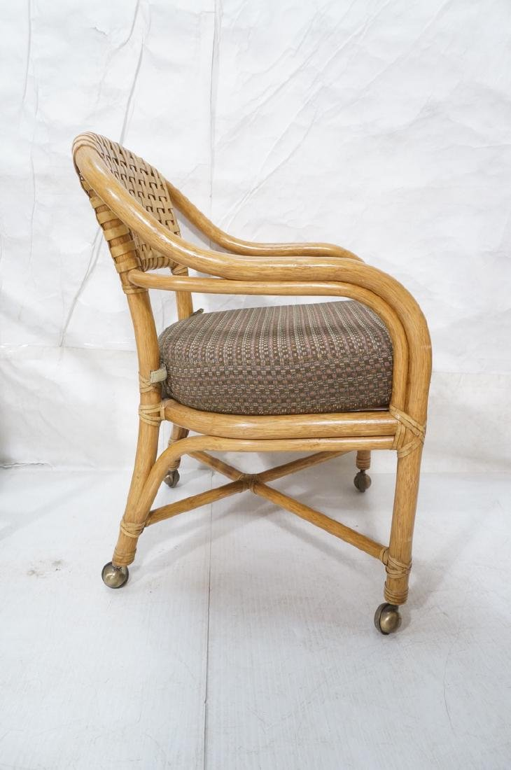 Set 4 MCGUIRE Rattan & Leather Arm Dining Chairs. - 3