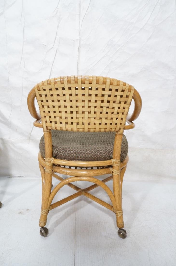 Set 4 MCGUIRE Rattan & Leather Arm Dining Chairs. - 4