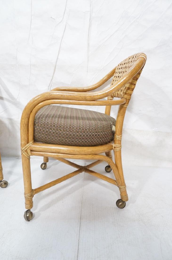 Set 4 MCGUIRE Rattan & Leather Arm Dining Chairs. - 5