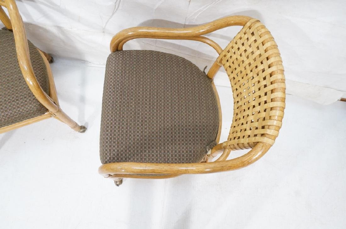 Set 4 MCGUIRE Rattan & Leather Arm Dining Chairs. - 6